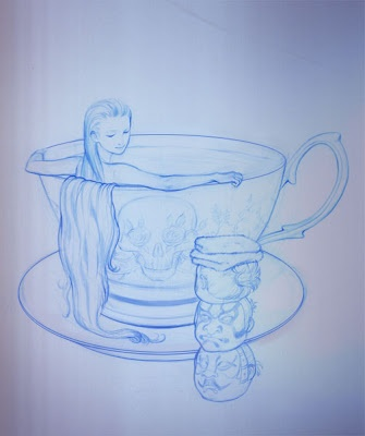 Jacuzzi. Here is a sketch for my next illustration. I keep featuring cups of tea - sigh..