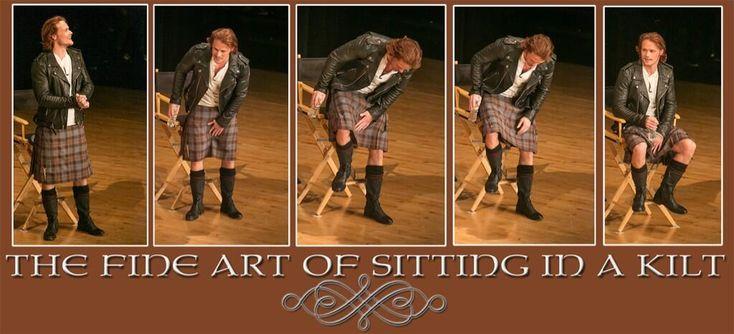 The Fine Art of Sitting in a Kilt. Sam Heughan.  Twitter / KarenNeale1: @Outlander_Starz @OutlanderfanCOM ...
