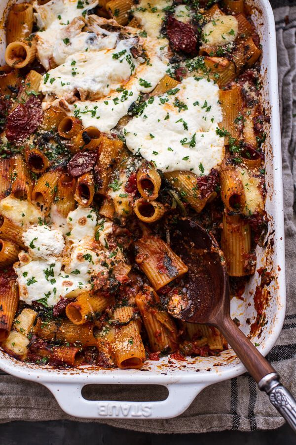 One-Pan Four Cheese Drunken Sun-Dried Tomato and Spinach Pasta Bake