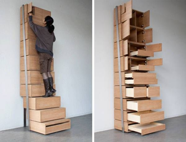 "I love Danny Kuo's concept design for a ""staircase"" storage unit, which would be great in small (but high-ceilinged) rooms and homes — it's a very tall shelving unit t…"