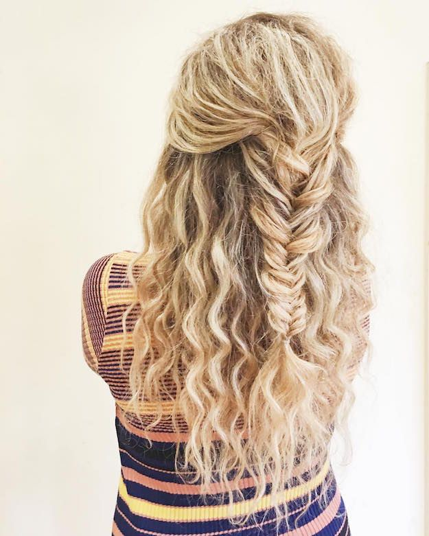 Fishtail Half Ponytail   12 Curly Homecoming Hairstyles You Can Show Off