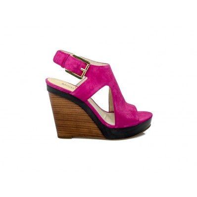 MICHAEL KORS - Wedge sandal in suede fucsia - Elsa-boutique.it