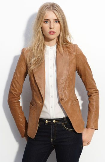 Very Sexy and Stylish womens tan leather blazer. This tan leather coat is Made with Exotic Lambskin Leather. Soft and Supple Leather. Wear to Impress.