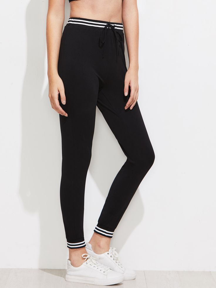 Shop Varsity Striped Trim Skinny Sweat Pants online. SheIn offers Varsity Striped Trim Skinny Sweat Pants & more to fit your fashionable needs.