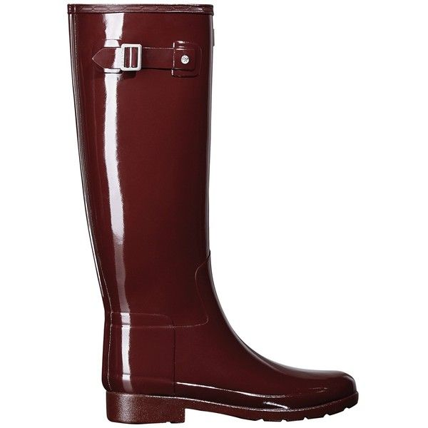 Hunter Original Tall Refined Gloss Wellington Boots, Dulse ($140) ❤ liked on Polyvore featuring shoes, boots, hunter boots, strappy boots, flat knee high boots, tall flat boots and low rain boots