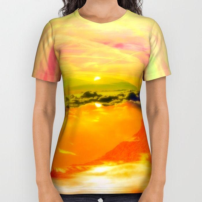 crazy sky All Over Print Shirt by Haroulita   Society6  #sunset #sun #tshirt #fashion #fashionista #yellow #orange #printallover #fun #sunshine #clouds