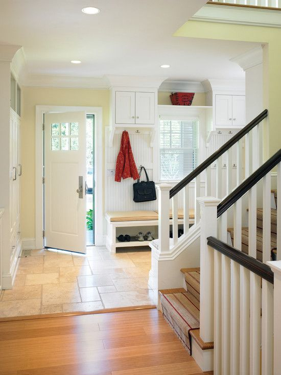 Foyer Mudroom House : Split entry remodel design level railing stairs