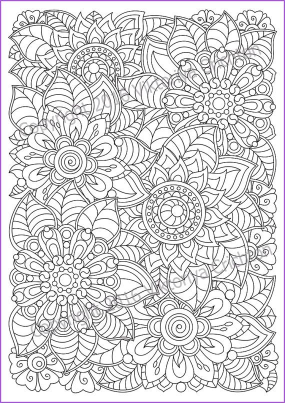 Soloring Page Doodle Flowers Printable Zen Doodle Pdf Zentangle