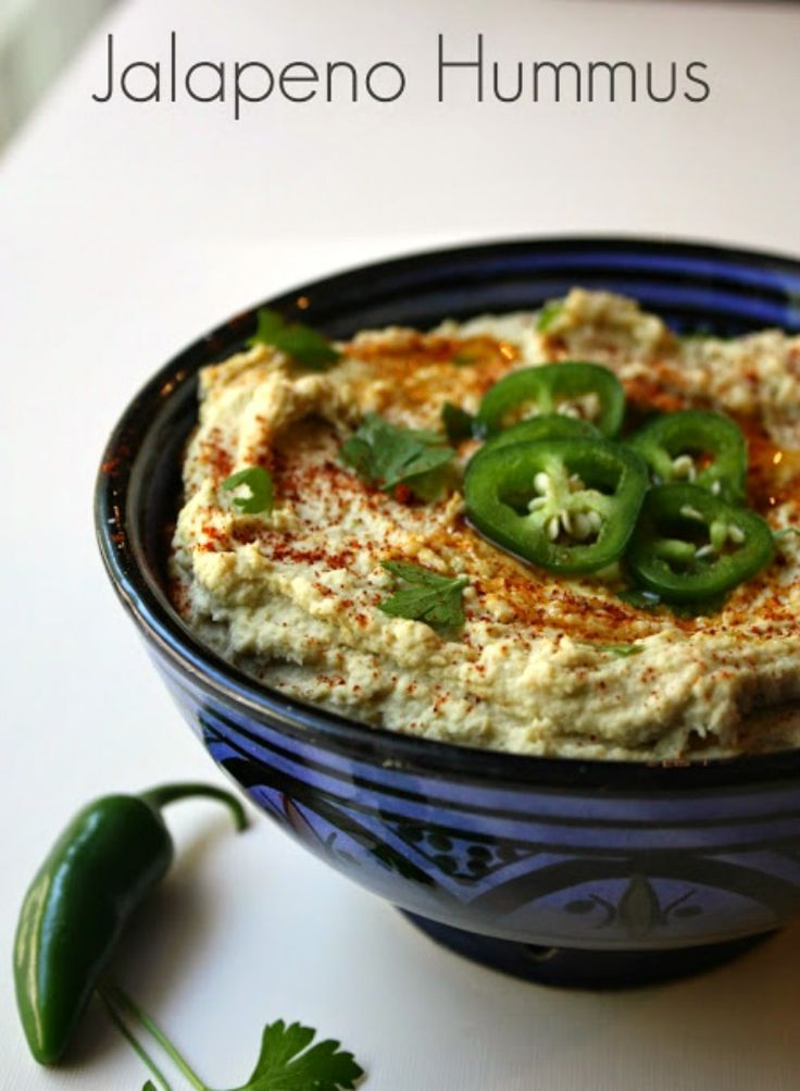 Homemade Hummus with fresh jalapenos for a spicy kick.