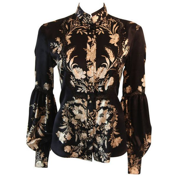 Pre-owned Romantic Roberto Cavalli Black Silk Gold Leaf on Ivory... ($525) ❤ liked on Polyvore featuring tops, blouses, shirts, black blouse, silk blouses, vintage t shirts, mandarin collar shirt y ivory dress shirt