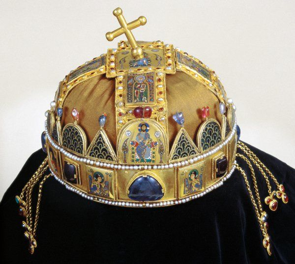 The Holy Crown of Hungary, presumed to have been made in Constantinople in the 1070s, was the coronation crown used by the Kingdom of Hungary for most of its existence; kings have been crowned with it since the twelfth century. The Crown was bound to the Lands of the Crown of Saint Stephen. No king of Hungary was regarded as having been truly legitimate without being crowned with it. In the history of Hungary, more than fifty kings were crowned with it, up to the last, Charles IV, in 1916.