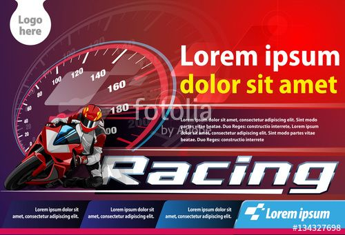 Vector: Vector template, poster or print ads motorcycle racing championship event.