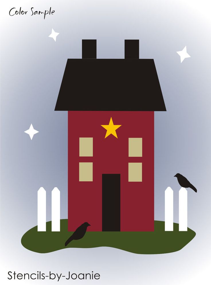 Primitive Country STENCIL Folk Art Saltbox House Home Fence Crows Star Signs  #StencilsbyJoanie