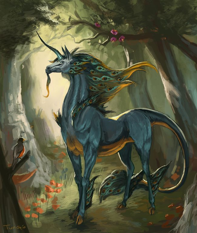 The unicorn in the storyline looks like a horse/goat hybrid with a tail more like a lion than a horse. She's black with a long silver mane.