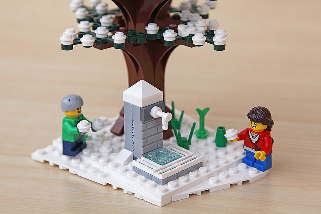 Lego Christmas: snowball fight, winter tree, and frozen well