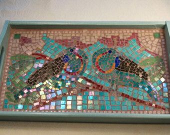 Lotus Pond Mosaic Tray by ButterflyMosaicsUK on Etsy