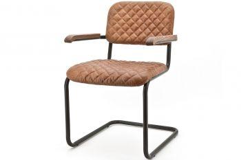 Freischwinger Stuhl Toby in Leder blau, schwarz, cognac oder braun von Eleonora