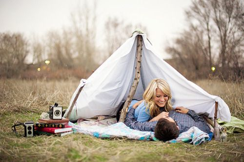 #engagement #couple #love #proposal #ideas #camping #woods #forest #tent