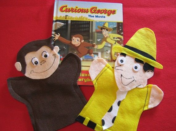 Cute idea to make Curious George and the Man in the Yellow Hat puppets