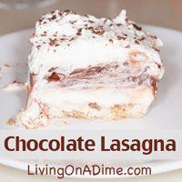 Cream cheese and Chocolate! What's not to LOVE!! Click here for this yummy Chocolate Lasagna #Recipe http://www.livingonadime.com/chocolate-lasagna-recipe-posh-pudding-dessert/