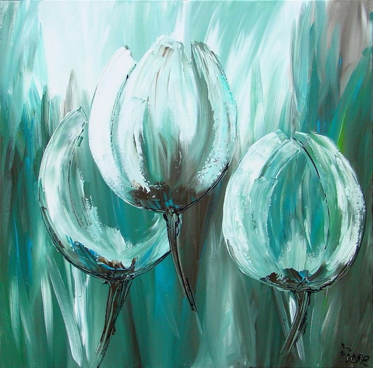 schilderij groene tulpen groen tulpen modern
