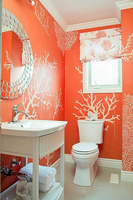 1000 images about oh so orange on pinterest orange bathrooms color trends and bachelorette pad for Wallpaper trends for bathrooms