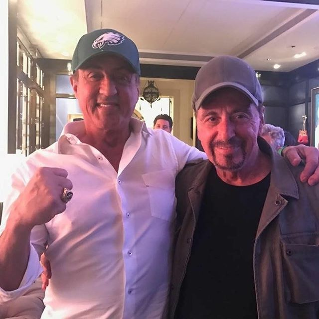 When my childhood hero's meet  @Regranned from @officialslystallone -  With The great Al Pacino the minute after the EAGLES WON THE SUPERBOWL!!!! - #regrann #superbowl