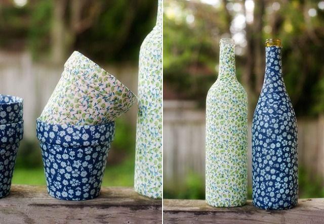blumentöpfe glas flaschen stoff gestalten
