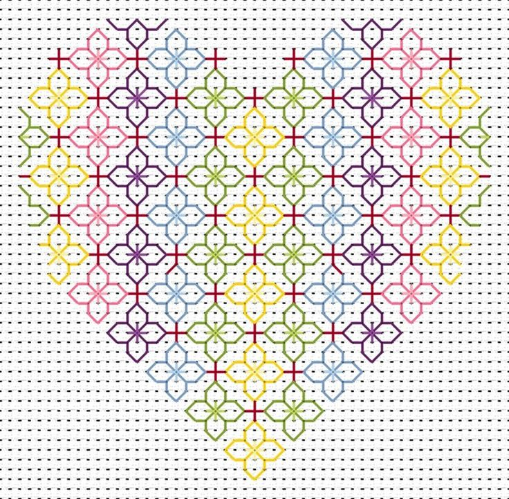 Blackwork Heart Card: Cross stitch (Fat Cat, CK-HT)