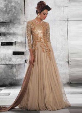 Classy Cream Embroidery Work Net Wedding Gown
