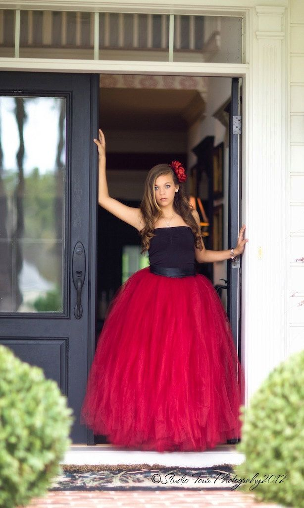 red dress, red tutu, long tutu skirt, sewn tutus, Wide Satin sash, Wedding tutu, Prom dress, flower girl dress, adult tutu. $195.00, via Etsy.