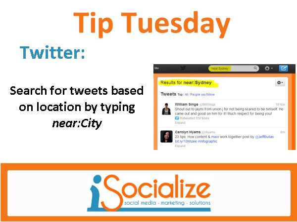 Learn how to search for tweets based on location. For more tips each Tuesday click here www.facebook.com/isocialize and press like!