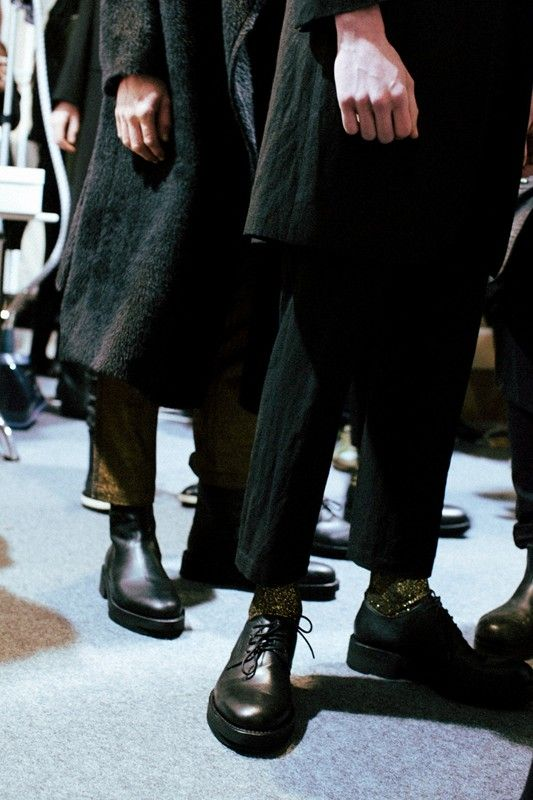 Gold glitter socks and black leather brogues at Ann Demeulemeester AW14 PFW. Shot by Lea Colombo. More images here: http://www.dazeddigital.com/fashion/article/19055/1/ann-demeulemeester-aw14: