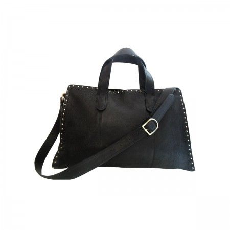 Lacrom - Maria Biandr - Zeus Unisex bag. Rimmed design with studs on the borders.  Detachable shoulder strap.