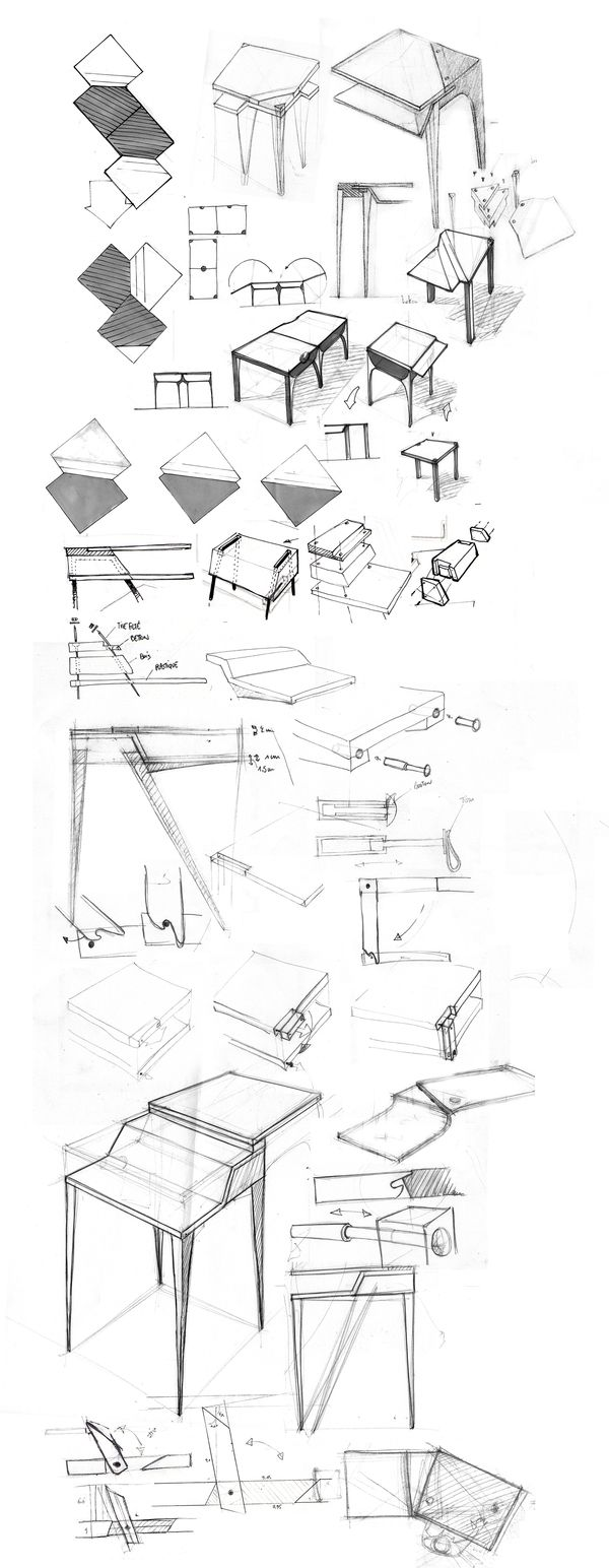 Office furniture design sketches - I Imagin A Multi Purpose Table In A Simple Operation The Table Become A Work Desk With 2 Trays To Work Either Standing Or Sitting To Prevent Having To