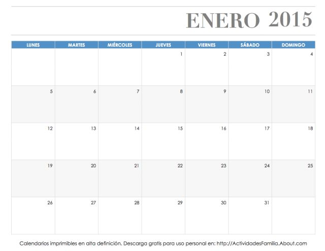Calendarios imprimibles 2015: descarga e imprime gratis: Calendario Enero 2015