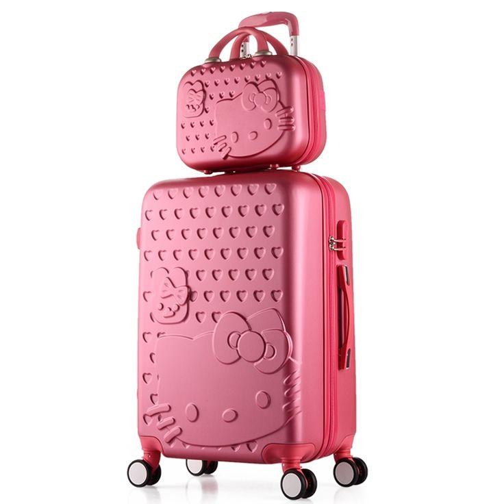 2 UNIDS/SET Encantador 14 pulgadas bolsa de Cosméticos hello Kitty 20 alumnas de 24 pulgadas caja de la carretilla del equipaje del Viaje mujer poniendo maleta
