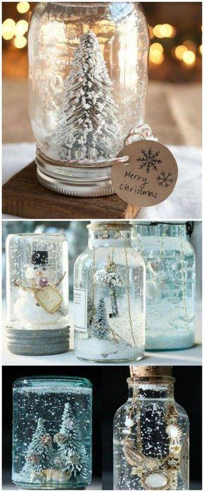 Bastelideen für DIY Geschenke zu Weihnachten, eine Schneekugel selber machen, mit Kunstschnee und Einzweckgläsern