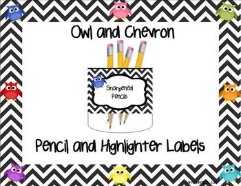 This freebie includes three labels for your classroom pencil/highlighter cups! * Sharpened Pencils* Pencils to Sharpen* Did you HIGHLIGHT your name?* HighlightersIf you like the chevron/owl design, check out my classroom theme pack here: http://www.teacherspayteachers.com/Product/Owl-and-Chevron-Classroom-Theme-Pack-Editable--821062I hope you enjoy this item.