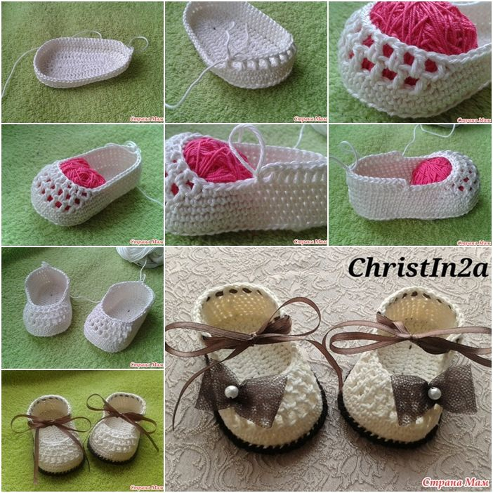 How to Crochet Pretty Baby Shoes with Ribbon Tie