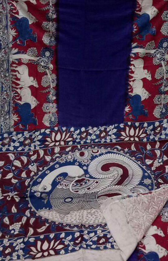 Blue Handloom Kalamkari Cotton Silk  Saree