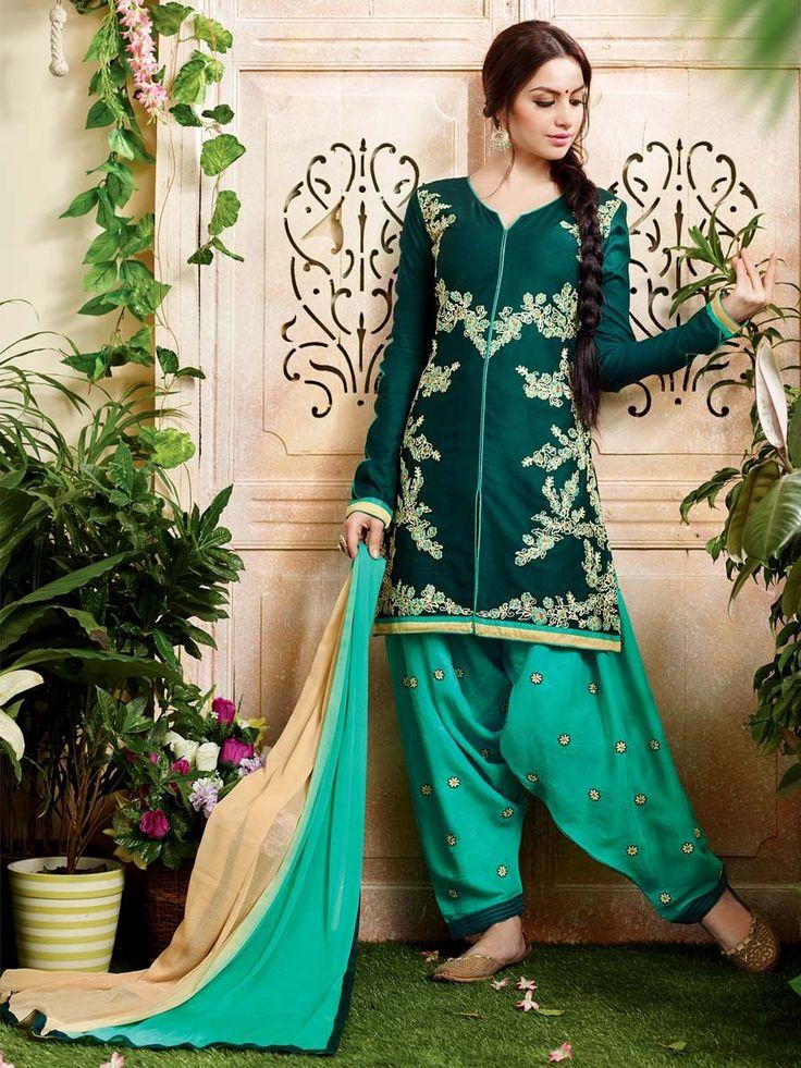 Captivating teal color cotton kurta with resham, zari work. Item Code:SLNYA705 http://www.bharatplaza.com/new-arrivals/salwar-kameez.html