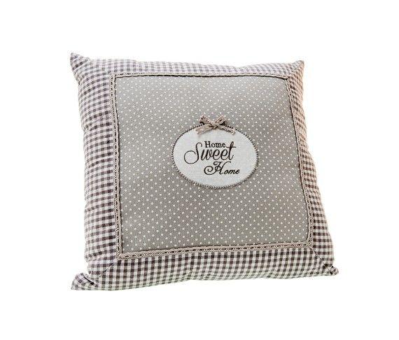 15,50 € - Cuscino Home Sweet Home, stile Shabby Chic, realizzato in stoffa, simpatica idea per bomboniera matrimonio, cm. 40x40.