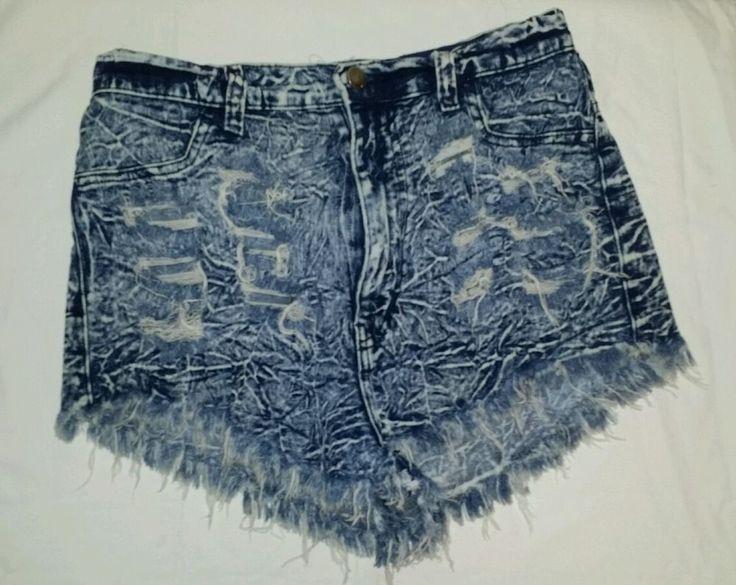 Aphrodite High Waisted Denim Cut Off Shorts Unique Distressed Womans Size L EUC #Aphrodite #Denim