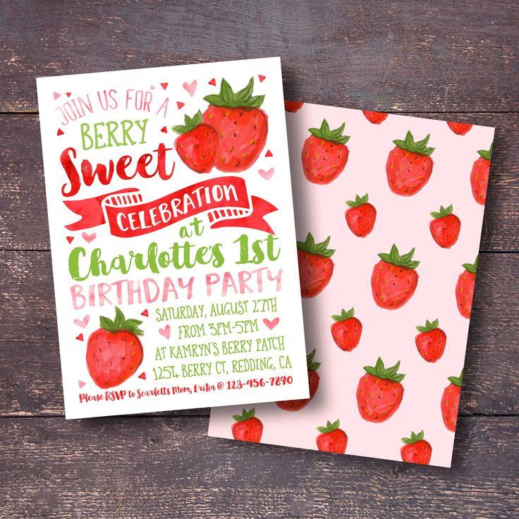 Strawberry Invitation, Watercolor Strawberry Invitation, Strawberry Birthday Invitation, First Birthday Invitation, Strawberry Party