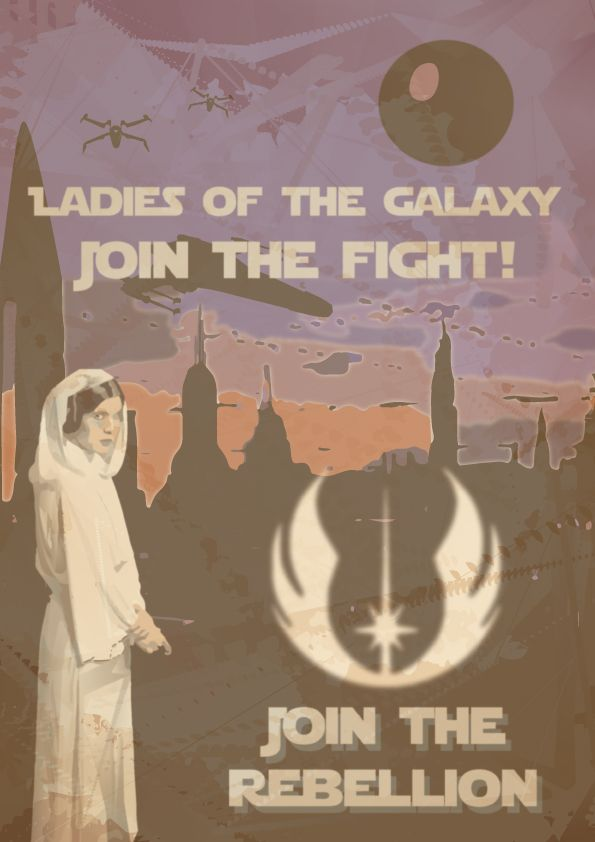 Vintage style ww2 Princess Leia poster based on the original Star Wars trilogy (ep IV, V, V)