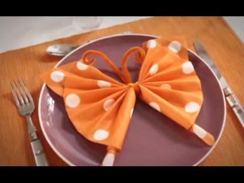 Pliage de serviette en papier - Papillon coloré - Labelleadresse.com - YouTube