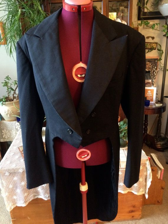 Mens Black Vintage tuxedo with tails 1949 by StarfishandRose