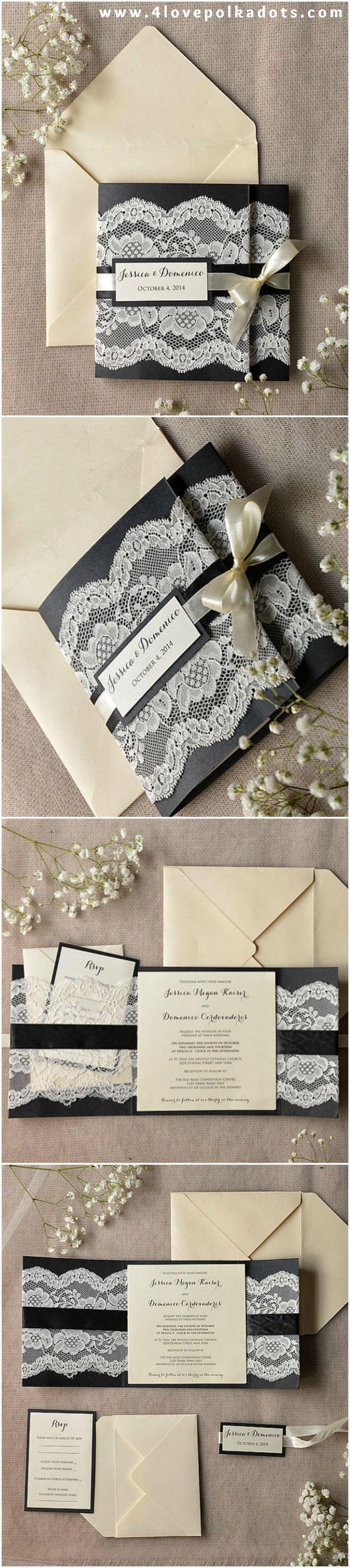 Black Romantic Lace Wedding Invitations #elegant #romantic #black #blackwedding #weddingideas #dpf