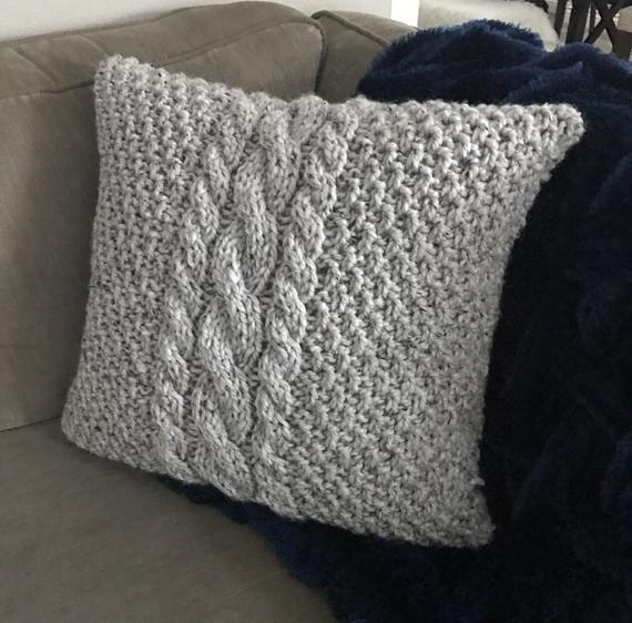 Cable Knit Pillow Cover Center Cables Kissen Stricken Kissen